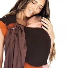 Organic Reversible Ring Sling - Espresso/Chocolate & FREE Discoveroo Bunny Rattle (rrp $14.95)